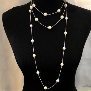 Jewelry - Long double strand layered pearl & silver necklace